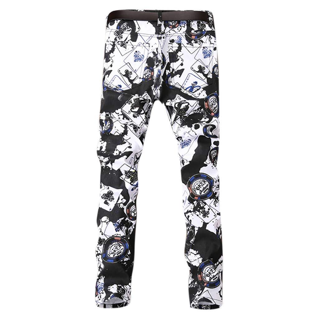 VEZAD Men's Trend Printed Pocket Jeans Casual Comfort Stretch Skinny-Fit Jean Pants