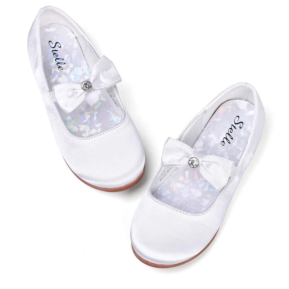 STELLE Girls Mary Jane Flat Slip-on Party Dress Shoes for Kids Toddler (13ML, White)