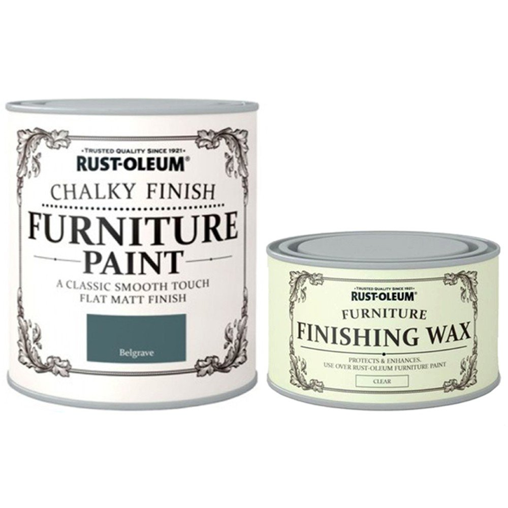 Rust-Oleum Chalk Belgrave Green Matt Finish Furniture Paint 750ml Plus Furniture Wax