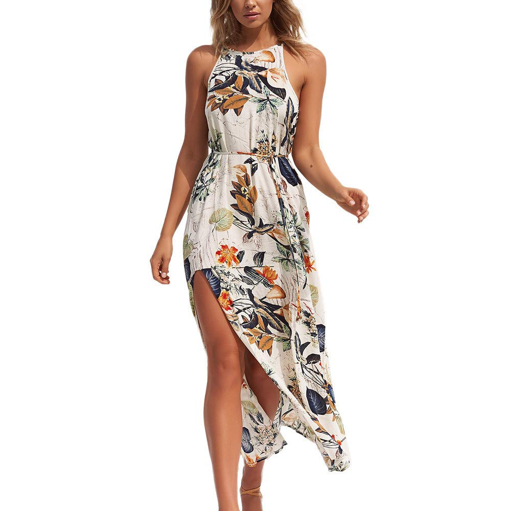 BAOHOKE Floral Print Halter Sleeveless Split High Waist Maxi Dresses,Women's Beach Chiffon Strappy Dress(Yellow,S)
