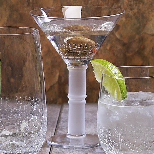 Clear Impulse Crackle Martini Hand-Crafted Glass Set of 4