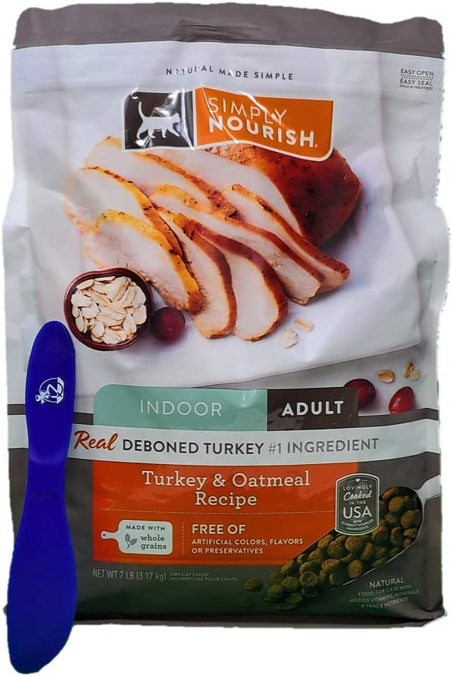 SIMPLY NOURISH Adult Dry Cat Food, Indoor Turkey and Oatmeal 7 Pounds and Especiales Cosas Mixing Spatula