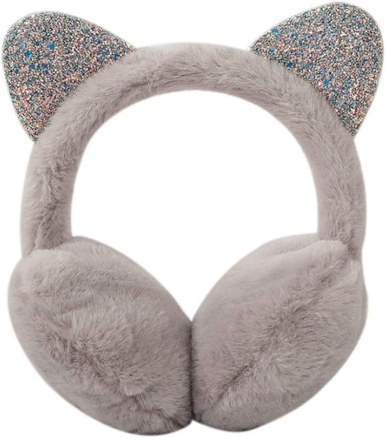 ZJJ Earmuffs Warm Cute Earmuffs New Sequins Cat Ears Plush Children Warm  Earmuffs Winter Cold Student Earflap Cover (Color : Gray): Amazon.co.uk:  Kitchen & Home