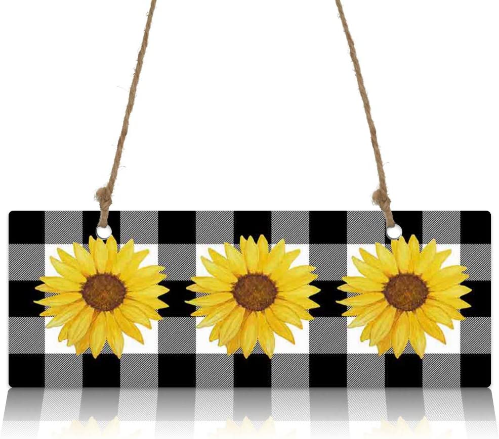 Wooden Hanging Wall Decor Sign-Farm Sunflower Buffalo Plaid Black and White,Welcome Door Hanging Sign Home Decor Wall Art Plaque Sign for Living Room Kitchen Farmhouse