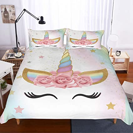 Surprising Apjjq Unicorn Duvet Cover Set Full Queen Size Floral Feather Eyelashes Unicorn Head With Pink Blue Gold Stars Background White 2 Piece With 1 Pillow Download Free Architecture Designs Itiscsunscenecom