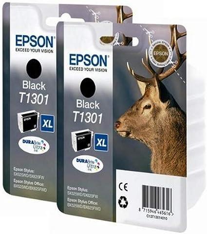 Epson T1301 - Pack 2 x cartuchos de tinta para impresoras Epson D78 Stylus, color negro: Amazon.es: Oficina y papelería