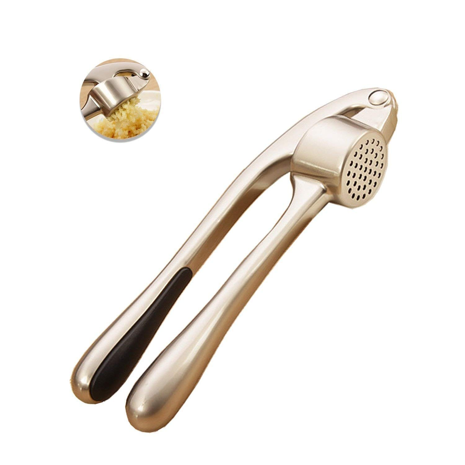 LuPuSon garlic press stainless steel professional heavy soft- Handled crush garlic and easy to clean-Use for everyone