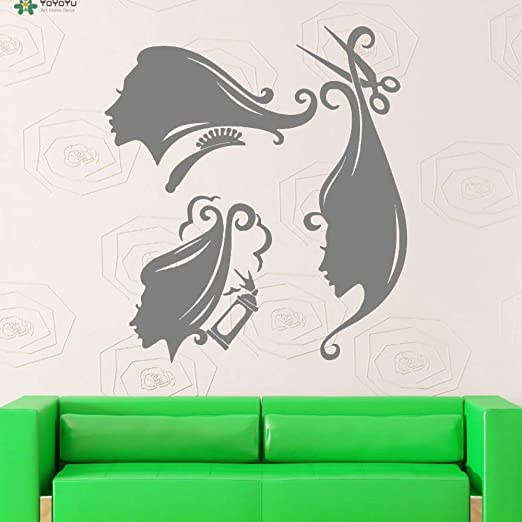 yaoxingfu Vinilo Tatuajes de Pared Peine Tijeras Spray Hair Salon ...