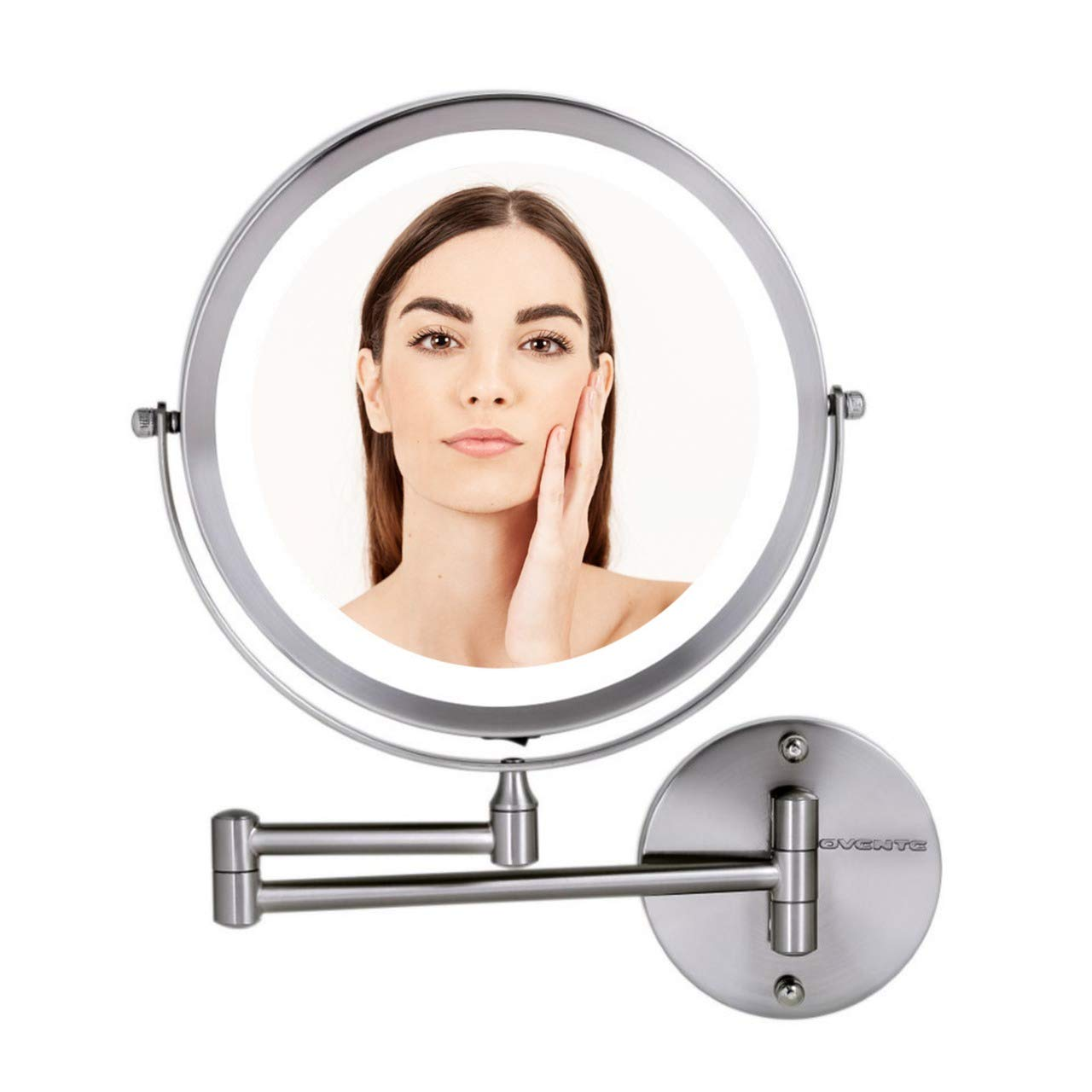 "OVENTE Wall Mount Mirror, 1×/10× Magnification, LED Ring Light, 8.5"", Battery-Operated (MFW85BR1X10X)"