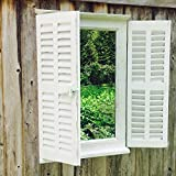Whole House Worlds The Stockbridge Farmhouse Style Mirror, Rustic White, Distressed Vintage Finish, Sustainable Fir Wood and Glass, Shutters, Brass Hardware, 27 5/8H x 17 7/8W inches, By