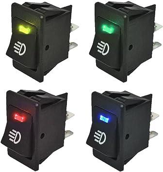 Mintice/™ 5 X 12V Car Vehicle Green LED Light Fog Light Button Rocker Toggle Switch On Off 4Pin
