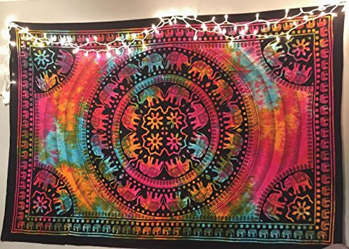 Colorful Tapestry Psychedelic Tie Dye Elephant Mandala Tapestry wall hanging Hippie Mandala Tapestries Indian Cotton Dorm Decor Bohemian Bedspread Table Runner Bed Cover Bed sheet (Tie Dye Wall Tapestries)