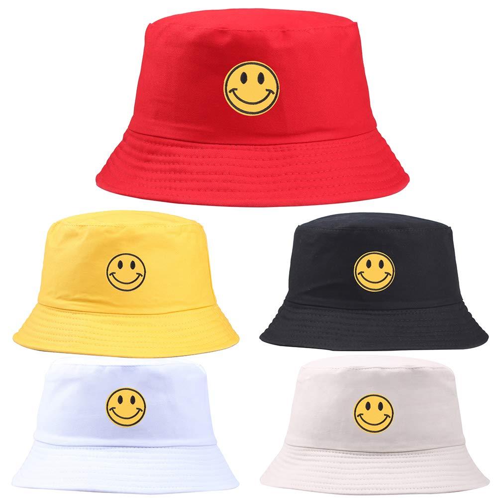 funie Smiley Face Embroidered Folding Fisherman Sun Hat Outdoor Men Women Bucket Cap