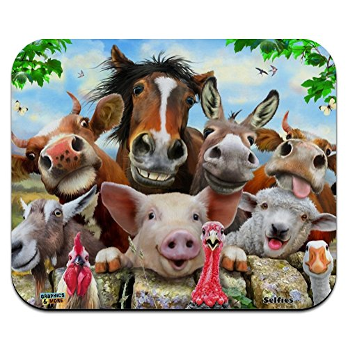 (Farm Selfie Horse Pig Chicken Donkey Cow Sheep Low Profile Thin Mouse Pad Mousepad)