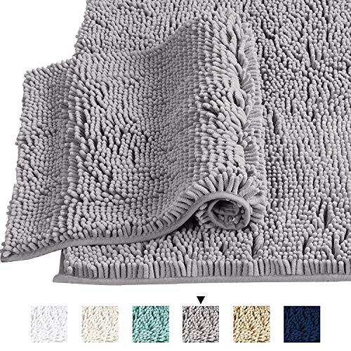 Grey Rugs for Bathroom Slip-Resistant Shag Chenille Bath Rugs Mat Extra Soft and Absorbent Bath Rug for Shower Room Machine-Washable Fast Dry (Gray, 20 x 32/17 x 24)