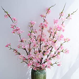 YUYAO Artificial Cherry Blossom Flowers, 4pcs Peach Branches Silk Tall Fake Flower Arrangements for Home Wedding Decoration,41inch (Pink)