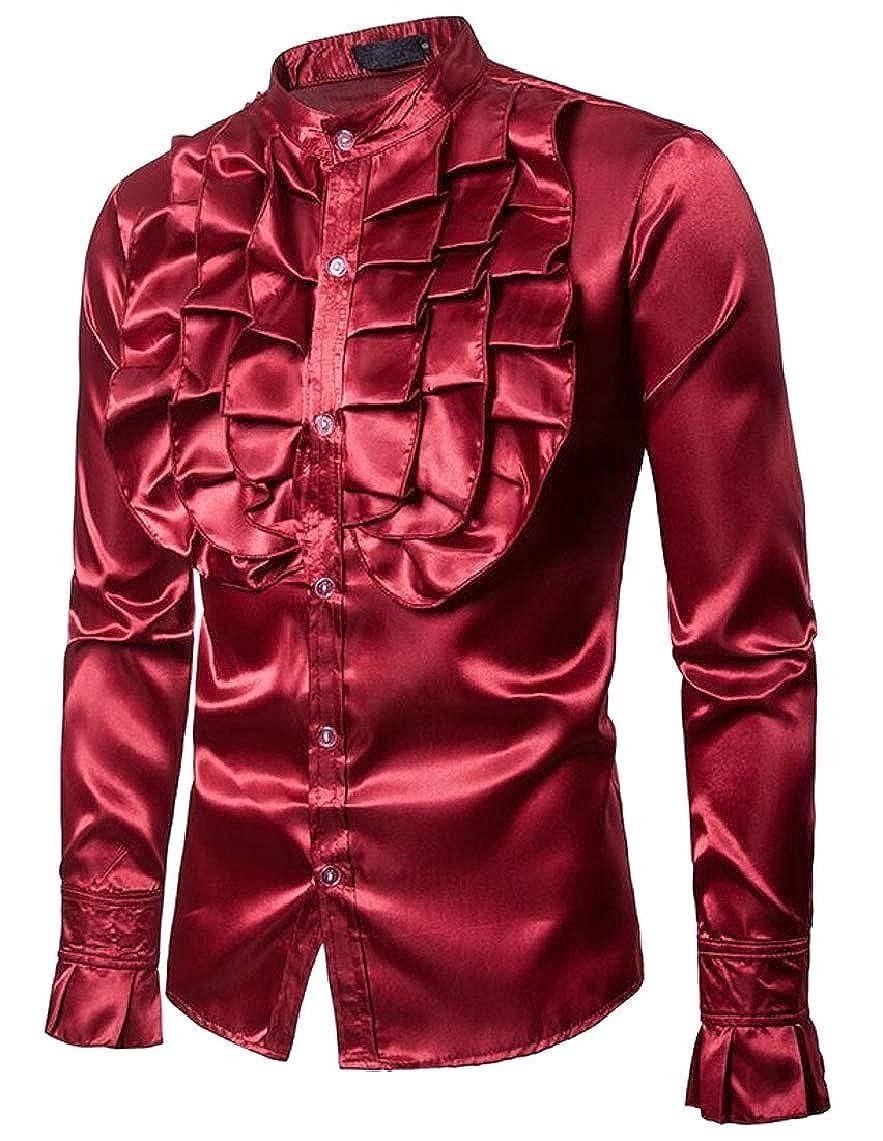Yayu Mens Long Sleeve Button Down Autumn Slim Solid Prom Shirt