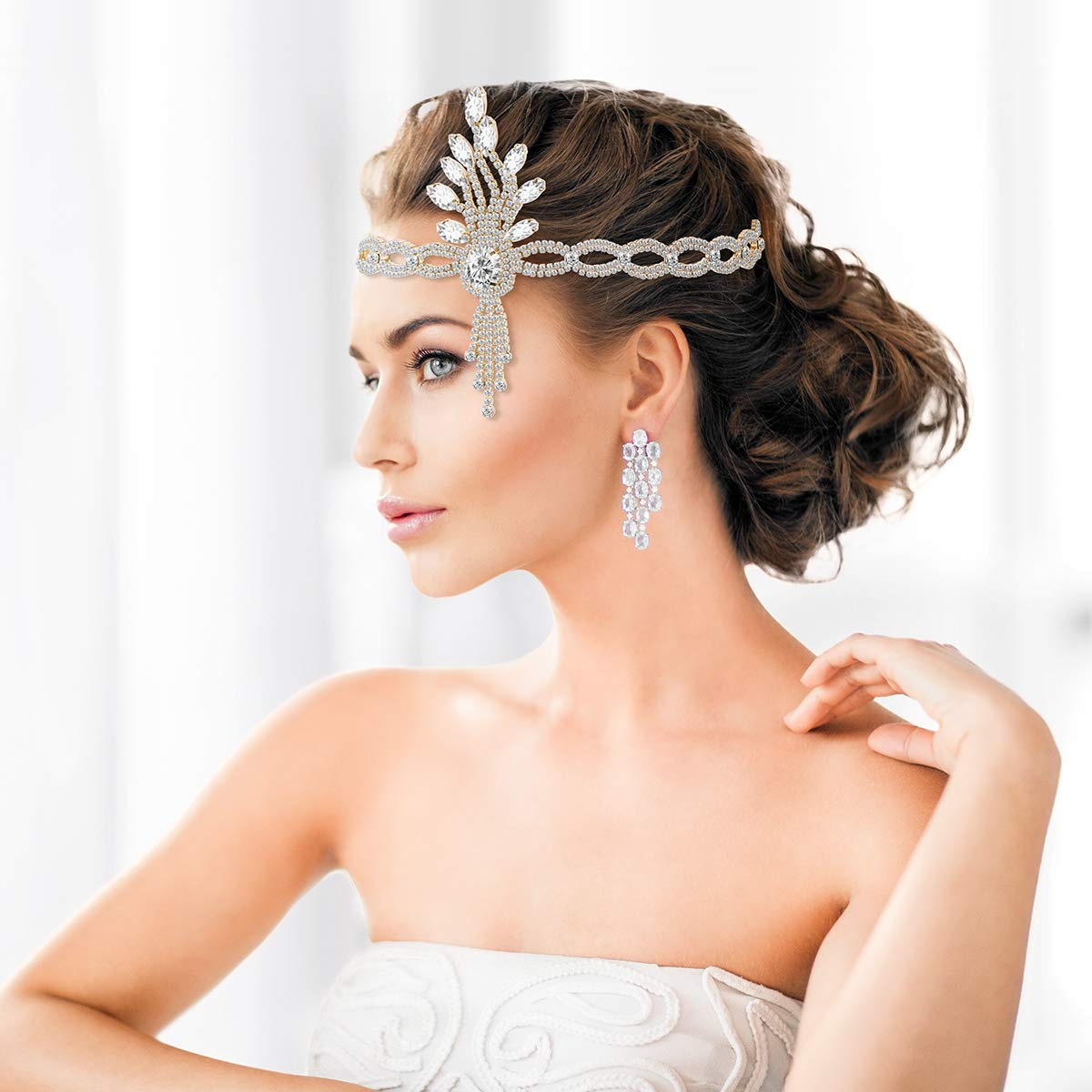 Vintage Headpiece 1920s Leaf Medallion Headband Wedding Bridal Themed Party Hair Accessories for Women