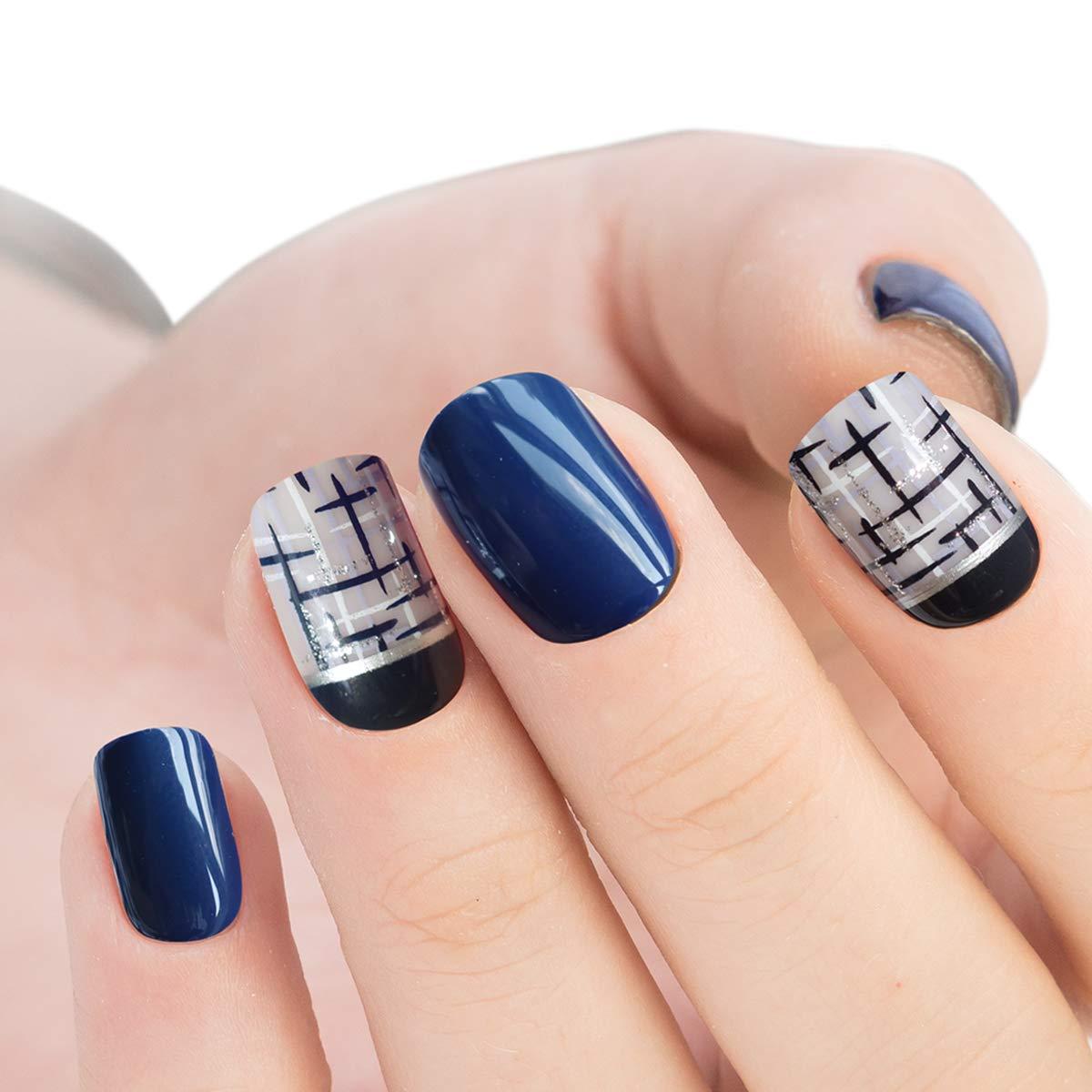 Doreliss uñas postizas 30 Pcs Consejos corto uñas falsas de Pegamento adhesivo de doble cara Cruz de plata azul marino