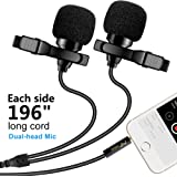 """Premium 196"""" Dual-head Lavalier Microphone, Professional Lapel Clip-on Omnidirectional Condenser Mic for Apple iPhone,Android,PC,Recording Youtube,Interview,Video Conference,Podcast - FREE BONUS"""