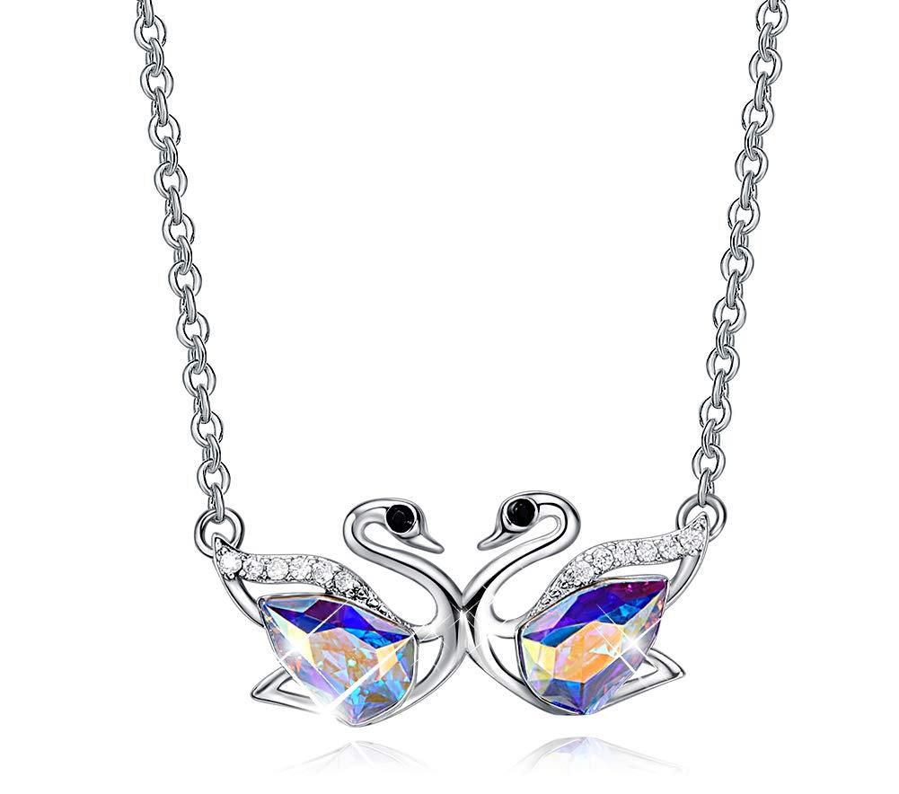 CDE Swan S925 Sterling Silver Swarovski Pendant Necklace Fine Jewelry Swan Animal Gifts