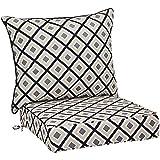 AmazonBasics Deep Seat Patio Seat and Back Cushion- Black Geo