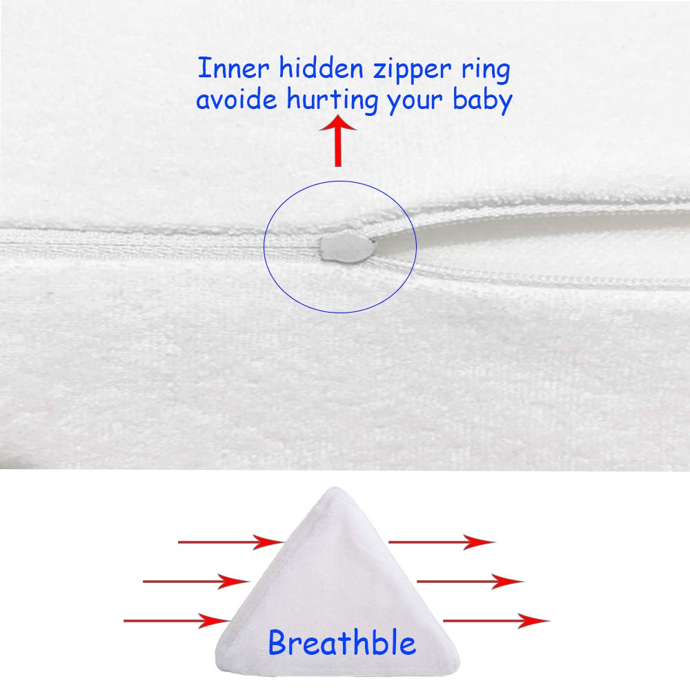 White Baby Sleep Pillow Anti-Roll for Newborn Infant Side Sleep Positioner Baby Wedge Pillow for Side Sleeping