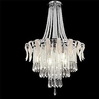 Glighone Lustre En Cristal 4e14 Led Moderne Plafonnier Chandelier