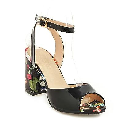 538ffc5cc3c4 AnMengXinLing Ankle Strap Heeled Sandals Women Block High Heel Peep Toe  Leather Flower Wedding Party Dress