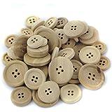 50pz Formato Misto Naturali Bottoni In Legno Rotondi Per Cucire Di Crafting