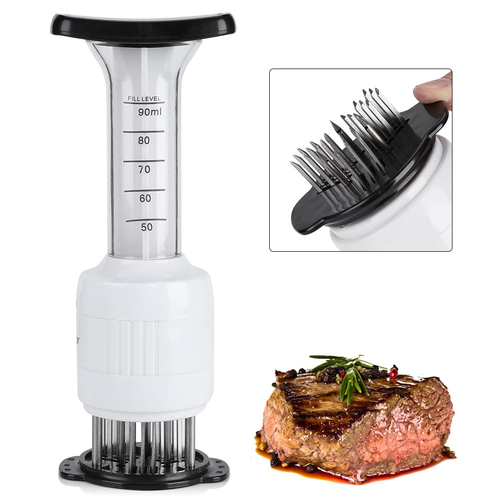Fdit Meat Baster for Marinating Injector Stainless Steel Needles for Soften the Meat Professional Meat Tenderizer