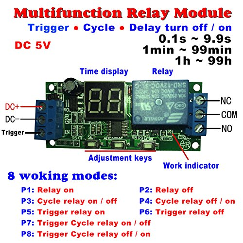 Qianson DC 5V 12V 24V Digital LED Display Infinite Cycle Delay Timer Switch ON/OFF Relay Module (DC 5V) (Cycle Relay Time Delay Repeat)