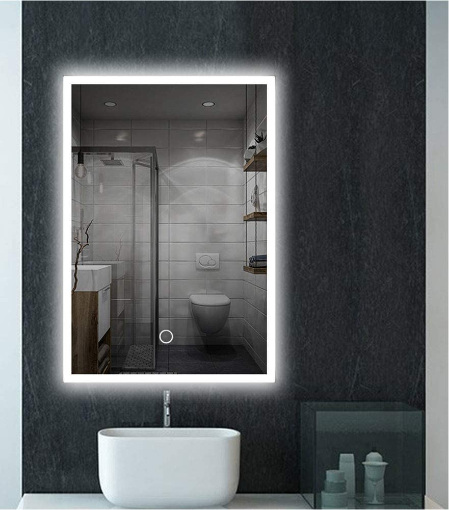 Amazon Com Feelglad 32 X 24 Inch Led Lighted Bathroom Mirror Wall Mounted Dimmable Touch Switch Illuminated Mirror With White Warm White Warm Color Temperature Changing Home Kitchen