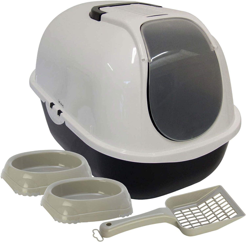 Dark Grey Cat Flip Toilet 2x0.2L Smarty Bowls Dark Blue Set Scoop