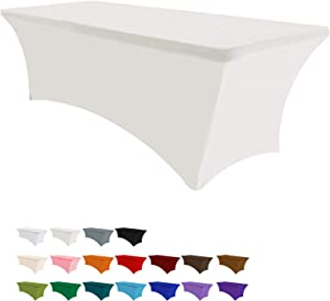 Eurmax 5Ft Rectangular Fitted Spandex Tablecloths Wedding Party Table Covers Event Stretchable Tablecloth (Ivory)