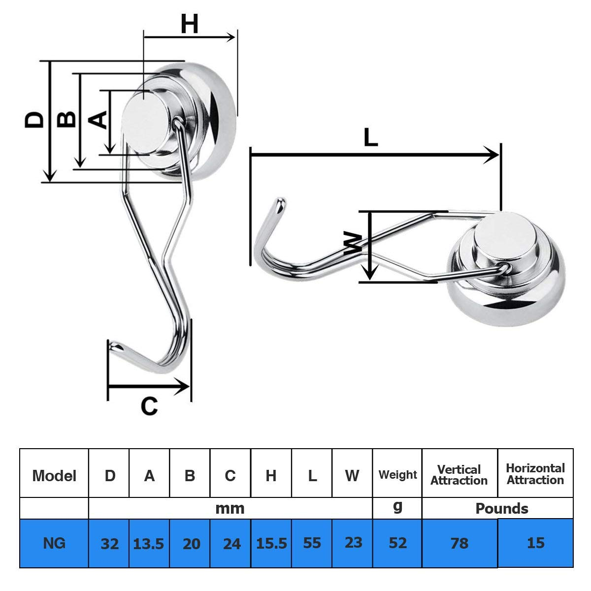 Magnetic Hooks Heavy Duty Great for Your Refrigerator and Other Magnetic Surfaces 6 Pack Wukong 75LBS Rotating Swivel Swing Strong Neodymium Magnet Hooks