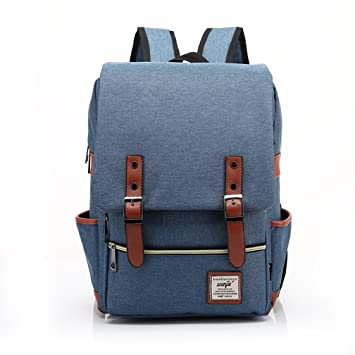 Gazigo Vintage Unisex Solid Bookbags Canvas Casual Backpack School Laptop Travel Rucksack Satchel Retro Shoulder Bag
