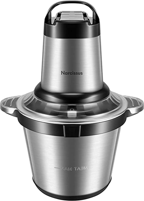 Narcissus Electric Meat Grinder, 14 Cup 3.5L Large Capacity Professional Stainless Steel Food Processor Chopper with 500W Super Power for Meat Vegetables Onion, 4 Sharp Blades for Quick Chopping