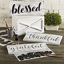 Grateful, Thankful, Blessed Stencil Set   Large Beautiful Calligraphy Stencils for Painting on Wood, DIY Farmhouse Decor, Create Rustic Word Stenciled Signs