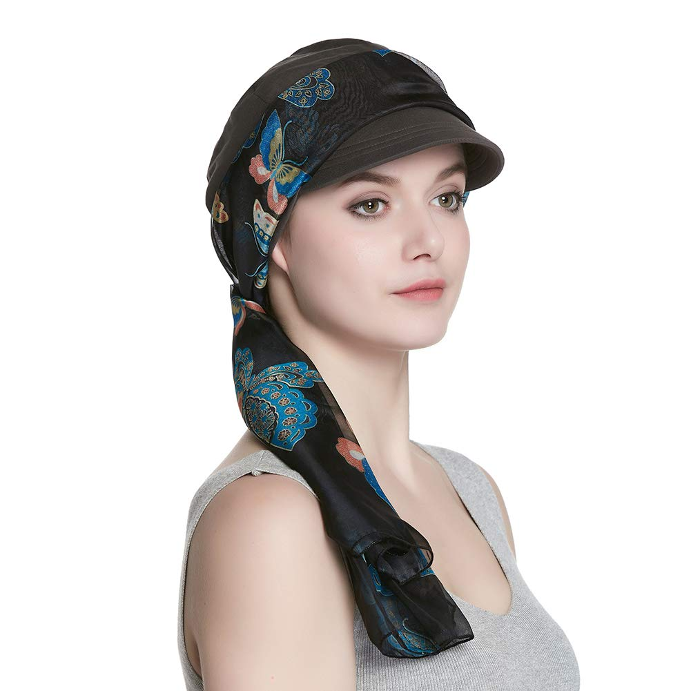 Alnorm Breathable Bamboo Fiber Lined Newsboy Hat and Scarf Set for Women