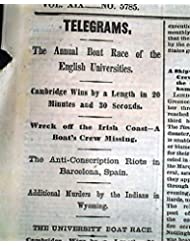 THE BOAT RACE Oxford vs. Cambridge University ROWING River Thames 1875 Newspaper