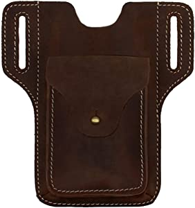 Leather Phone Holster for Men Belt Clip Cell Phone Pouch Case Tool Bags Waist Bag Pack Mobile Phone Holster Holder with Belt Loop for iPhone 12 11 Pro Samsung Galaxy Android Apple Phones