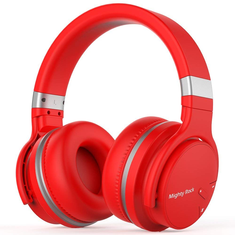 Mighty Rock E7C Active Noise Cancelling Headphones Bluetooth Headphones Over Ear Wireless Headphones with Microphone Hi-Fi Deep Bass Stereo Sound and 30H Playtime for Travel/Work/TV/iPhone (Red)