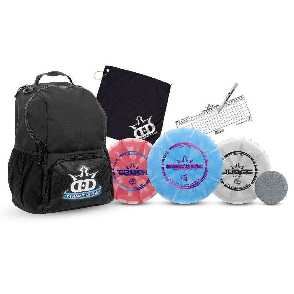 Dynamic Discs Disc Golf Starter Set | Black Cadet Disc Golf Bag Included | 17+ Disc Capacity | Prime Burst Disc Golf Frisbee Set Included | Putter, Midrange, Driver | 170g Plus | Colors Will Vary