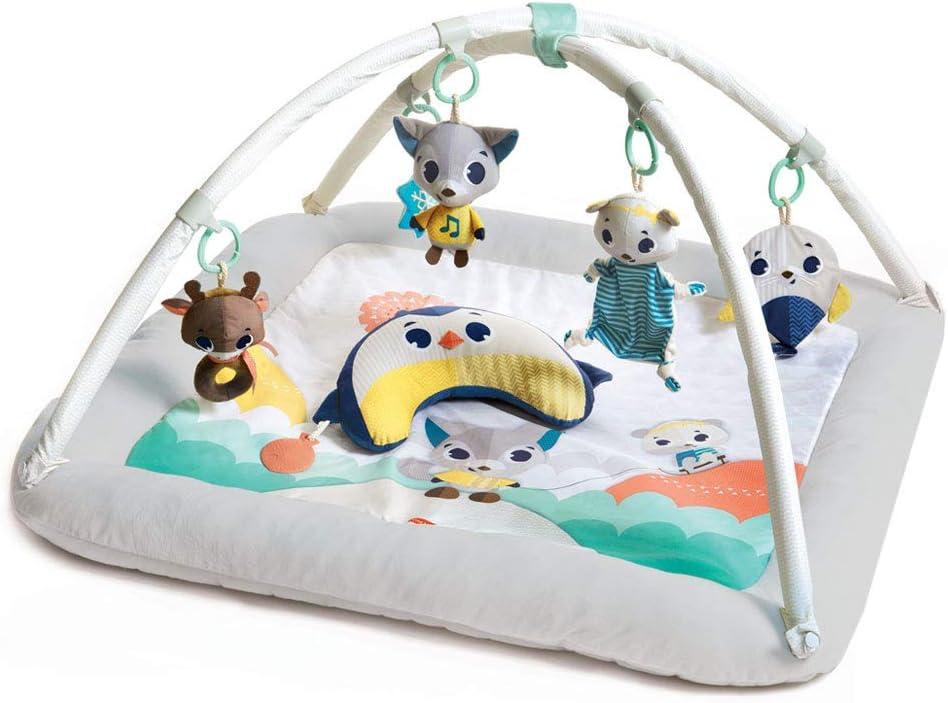 Tiny Love Plush Gymini Gimnasio para bebés recién nacidos, Alfombra bebé alcochada con bordes cerrados ultra acolchados, equipado con luces y juguete musical, Polar Wonders