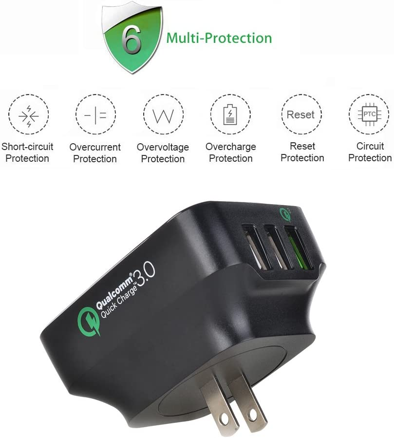 TUTUO USB Wall Charger Quick Charge 3.0 Fast AC Power Adapter 25W 3 Ports Travel Charging Station for Galaxy S20,iPhone 11 Pro Max,iPad Pro 11//12.9,Air 2//Mini Pixel 3 3a XL,Oneplus 7 Pro Motor G7