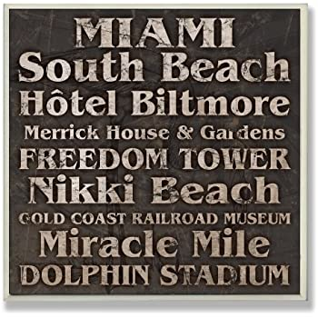 Stupell Home Décor Miami Landmarks Square Wall Plaque, 12 x 0.5 x 12, Proudly Made in USA