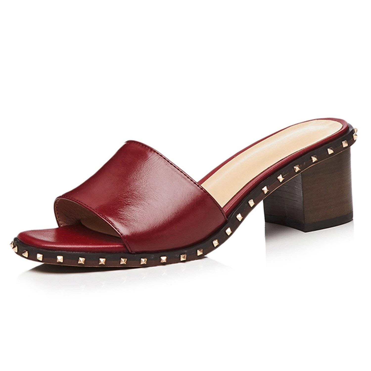 Wine Red I Need-You Wood High Heels Women Slippers Open Toe Rivet Footwear Leather Female Mules shoes Fashion Slides shoes Woman Summer 2019