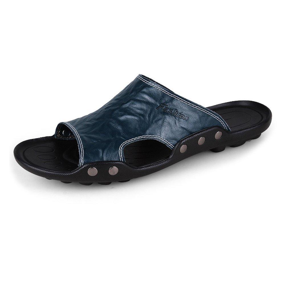 Zapatillas de Playa de Cuero Genuino de Piel de Vaca de los Hombres Zapatillas de Deporte Sandalias Antideslizantes 44 EU|Azul