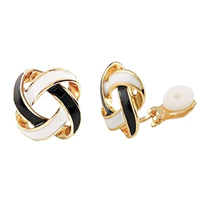 76fe9fc04 Image Unavailable. Image not available for. Color: SELOVO Fashion Cross Knot  Clip On Earrings Stud White Black Enamel Gold Tone